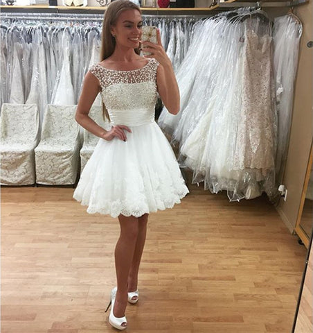 Image of White Lace Homecoming Dresses Pearl Beading