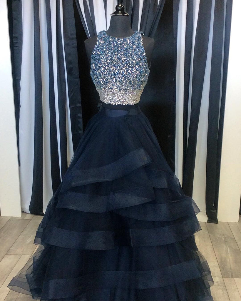 New Arrival 2017 Sparkly Sequins Beaded Organza Layered Prom Dresses Two Piece