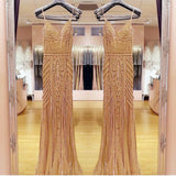 Golden Beaded V Neck Nude Tulle Mermaid Evening Dresses 2017