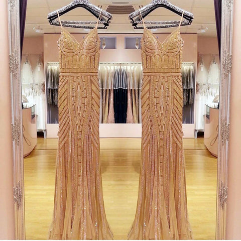 Image of Golden Beaded V Neck Nude Tulle Mermaid Evening Dresses 2017