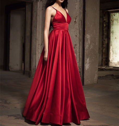 Image of Sexy Long Satin V-neck Prom Dresses 2018 Evening Gowns
