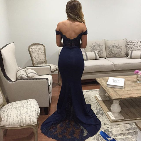 Image of Off The Shoulder Mermaid Evening Dresses Lace Appliques