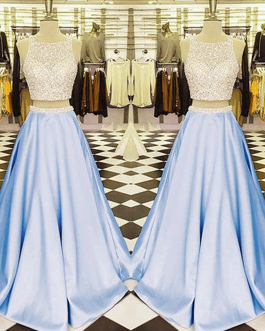 Image of Light Blue Prom Dresses Two Piece