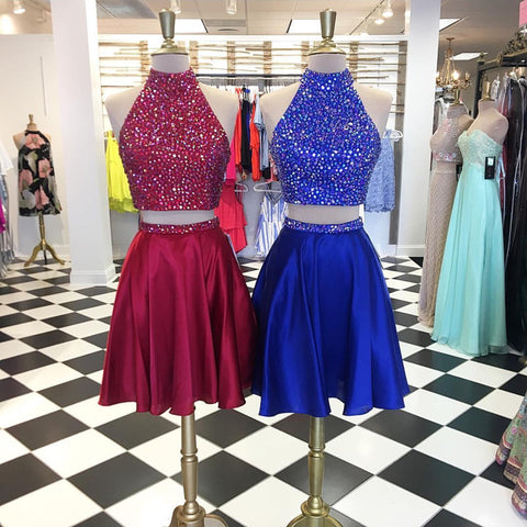 Image of High Neck Satin Two Piece Homecoming Dresses Crystal Beaded