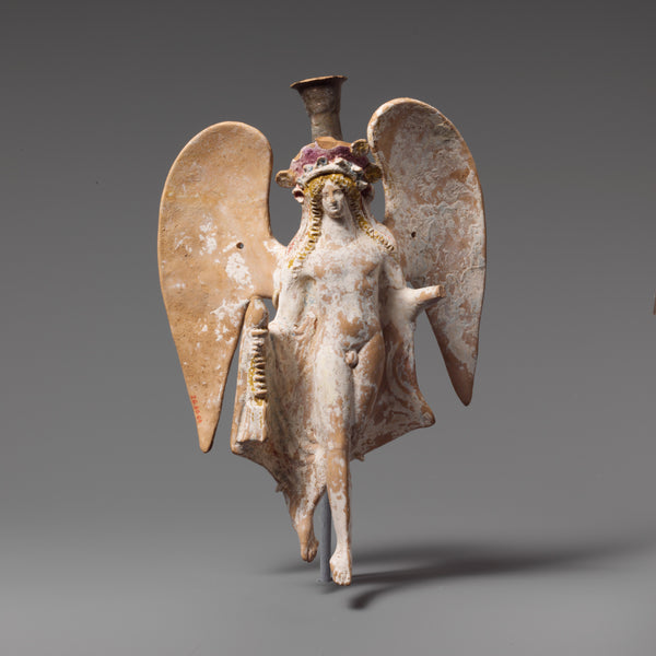 <i>Terracotta lekythos in the form of a flying Eros with incense burner</i>, Greece, 2nd half of the 4th century B.C.