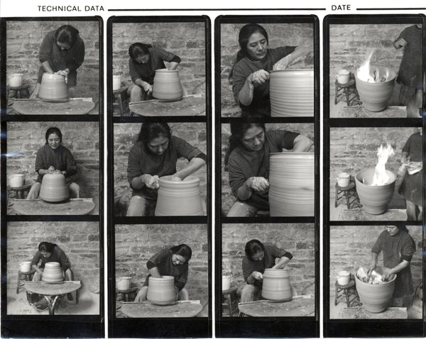 Toshiko Takaezu throwing a ceramic pot / Toshiko Takaezu papers, 1937-2010. Archives of American Art, Smithsonian Institution - Photographer Unknown