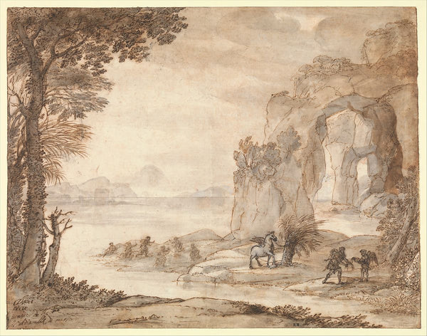 Claude Lorrain, Perseus and the Origin of Coral, 1671. Black chalk, sepia and black ink.