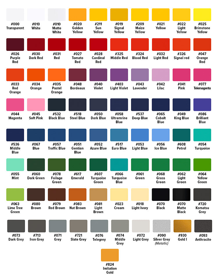 Oracal 751 Color Chart