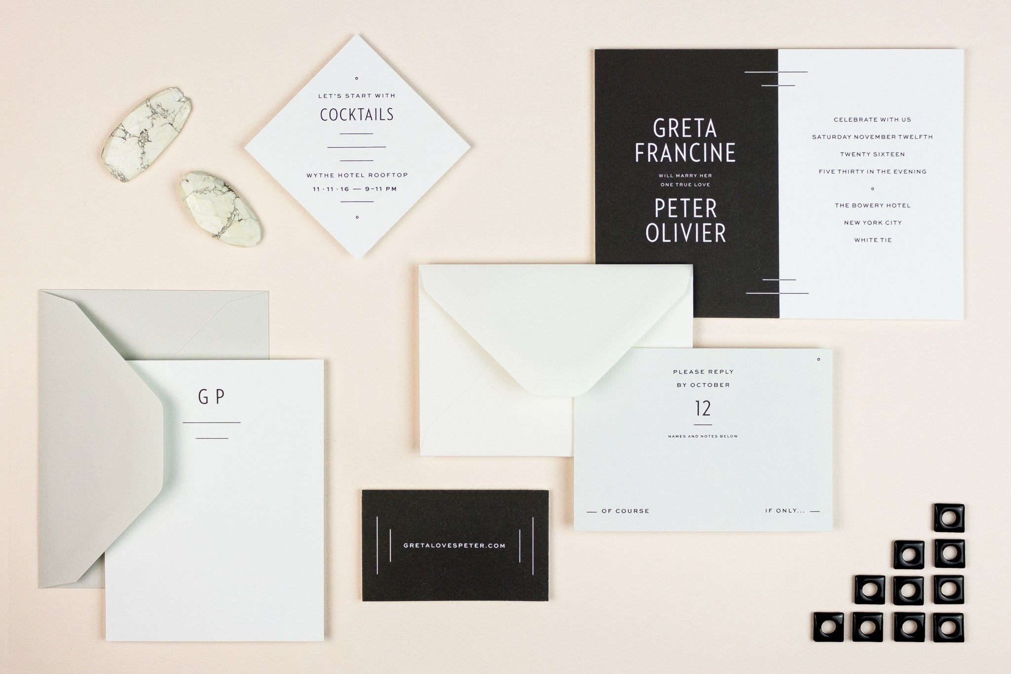 My Darlin' • Black and White Color Block Modern Wedding Invitation Suite: Greta Darlin' • www.mydarl.in