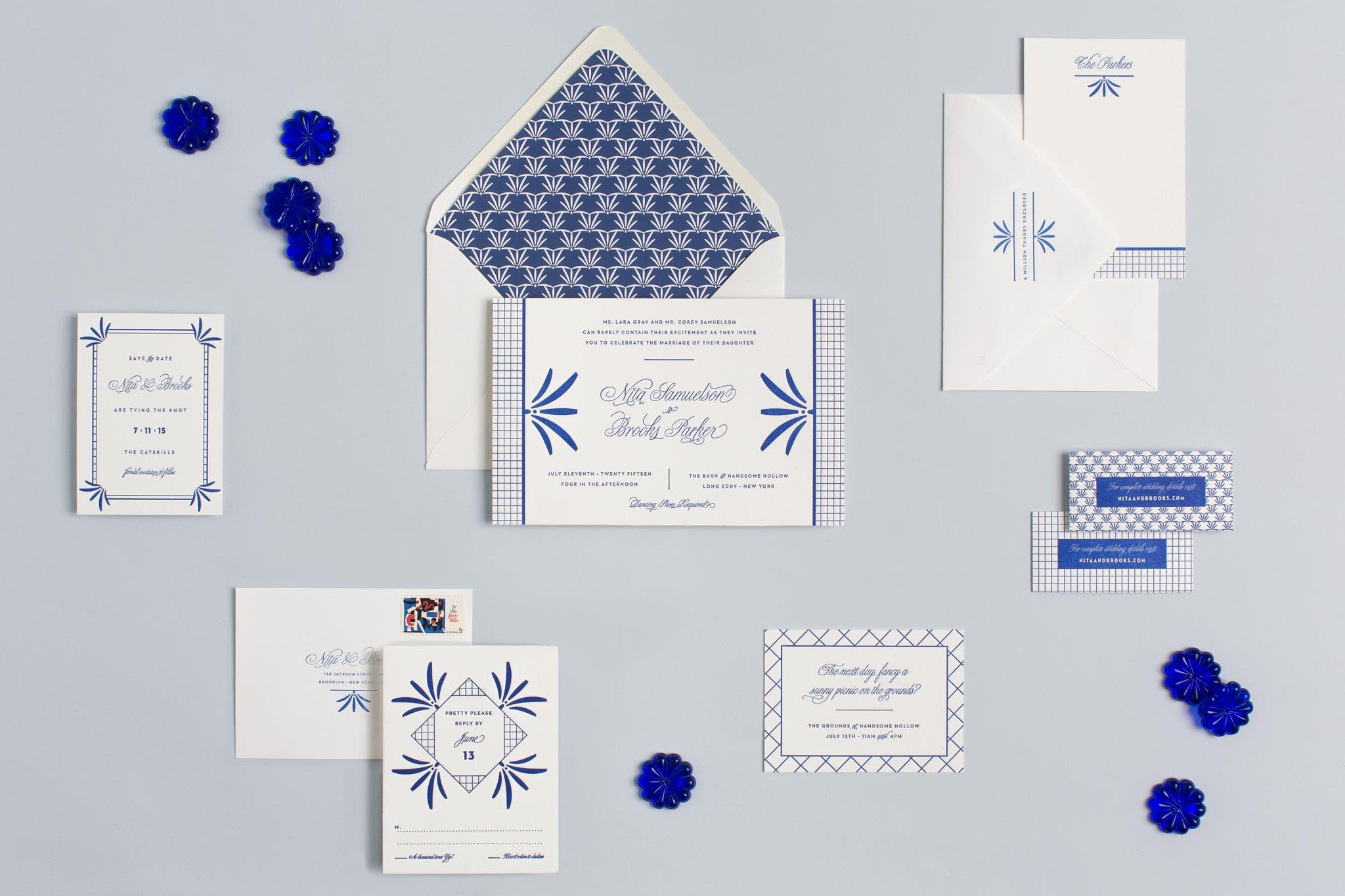 Brooks Darlin': Preppy Meets Deco Letterpress Wedding Invitation Suite by My Darlin', a Brooklyn, New York design and paper goods studio | www.mydarl.in