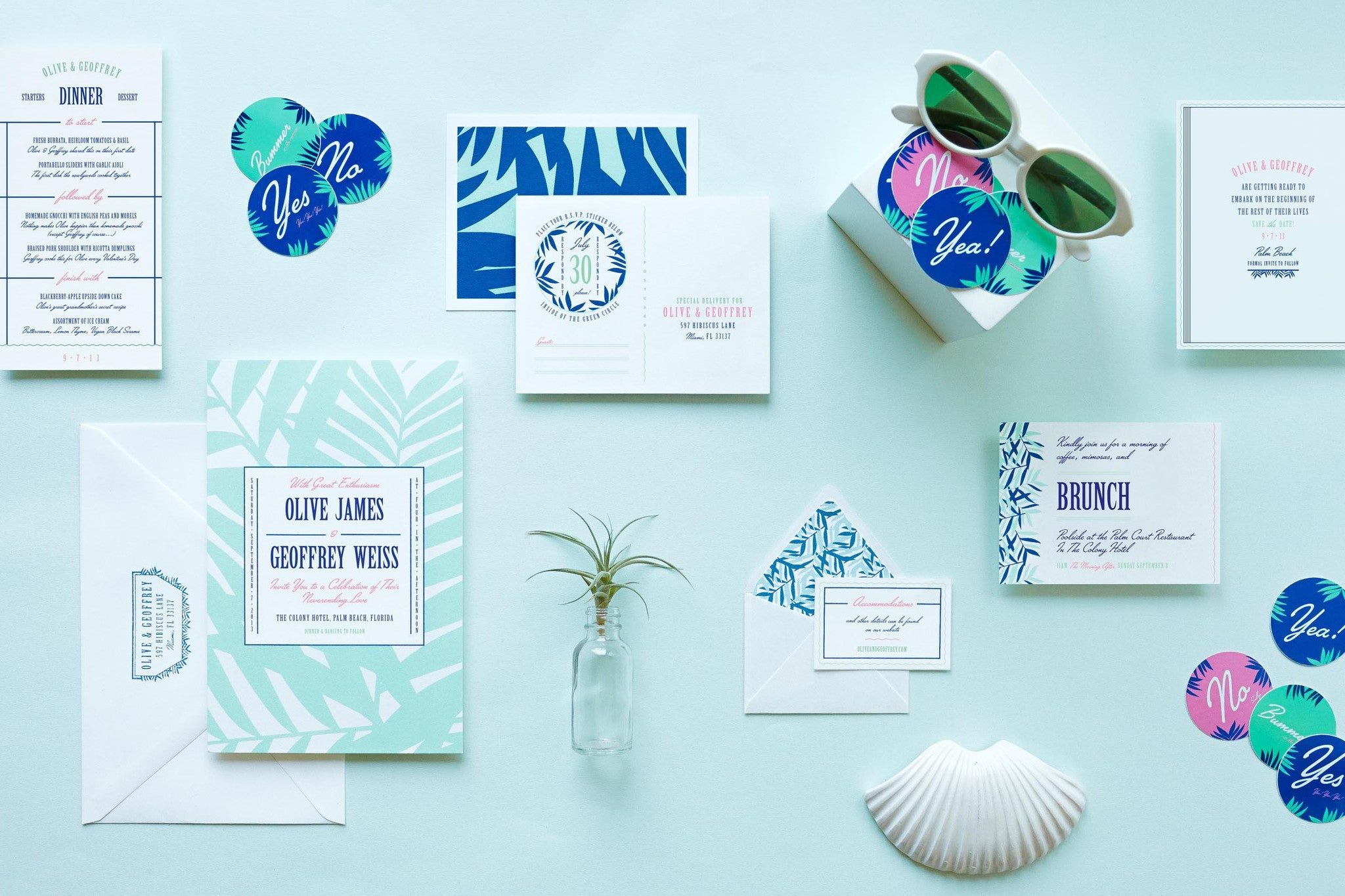 Olive Darlin': Summer Inspired Tropical Beachy Wedding Invitation Suite by My Darlin', a Brooklyn, New York design and paper goods studio | www.mydarl.in