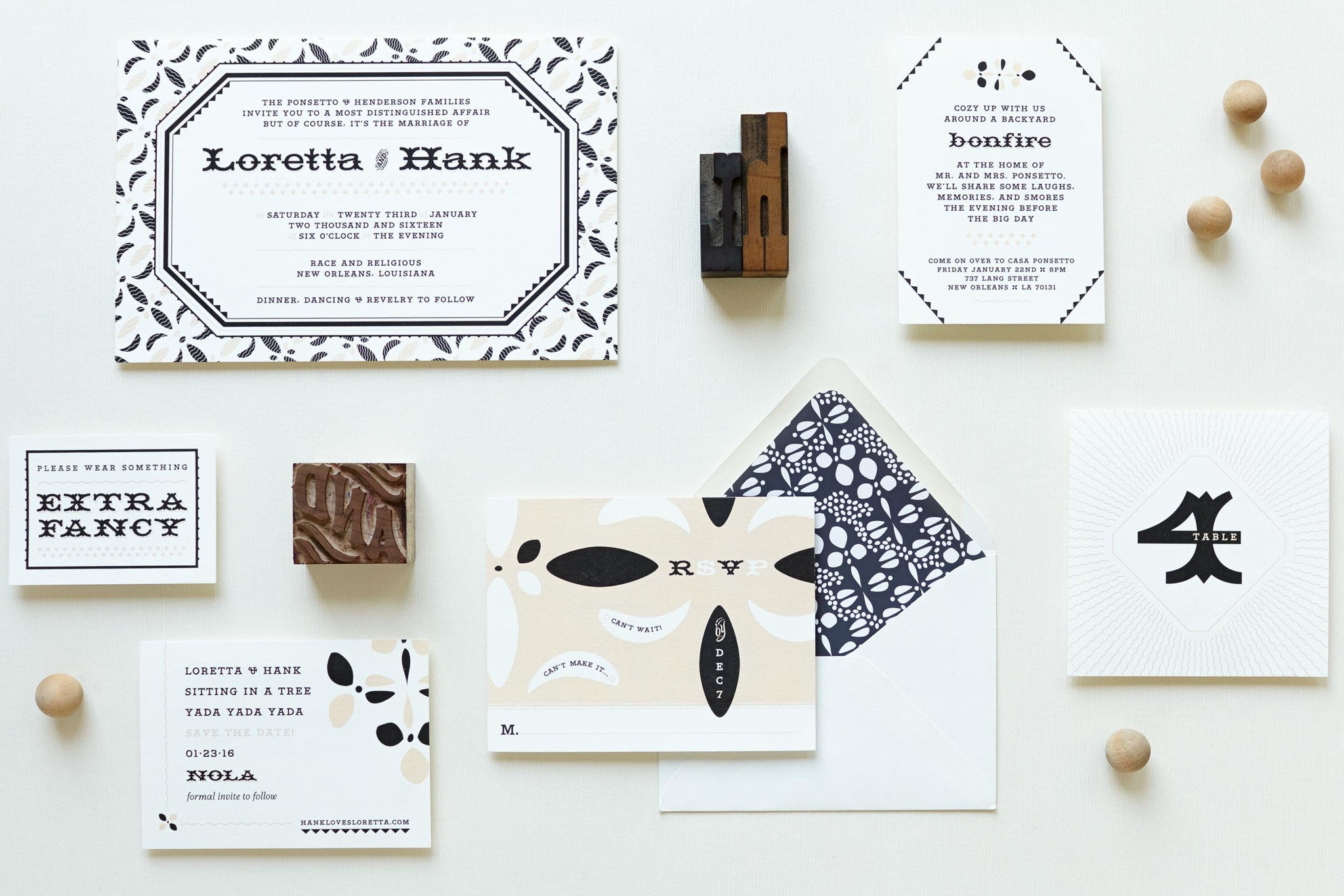 My Darlin' • Ornamental Wood Type Inspired Wedding Invitation Suite: Loretta Darlin' • www.mydarl.in