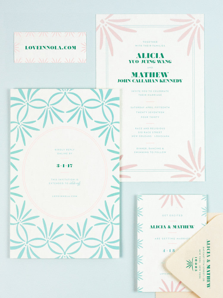 My Darlin' • Tropical Meets Deco Pastel Wedding Invitations and Save the Date for a Tax Day in Nola Wedding • www.mydarl.in