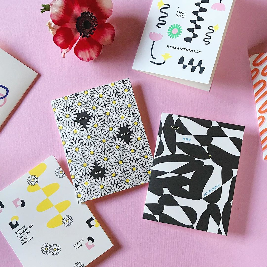 Abstract floral love, friendship, and Valentine's Day cards. Made in USA by @mydarlin_bk