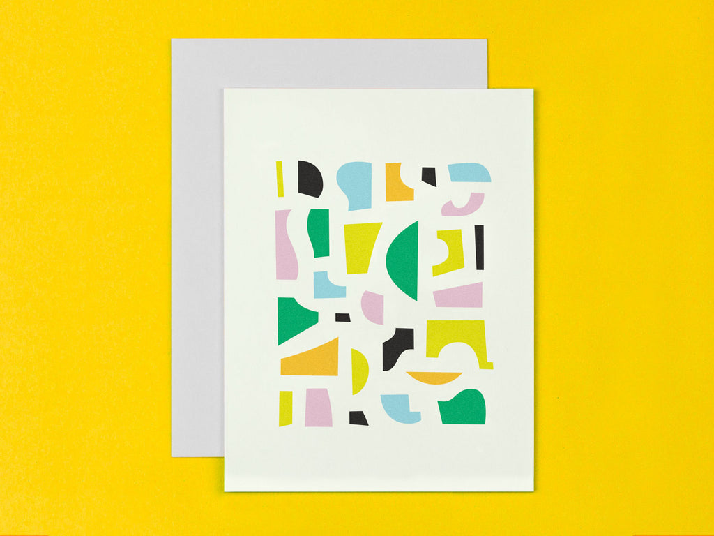 Abstract Blank card with abstract shape composition. Made in USA by My Darlin' @mydarlin_bk
