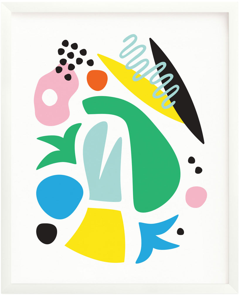 """Pool Party"" Miro inspired abstract shapes composition archival giclée art print. Made in USA by My Darlin' @mydarlin_bk"