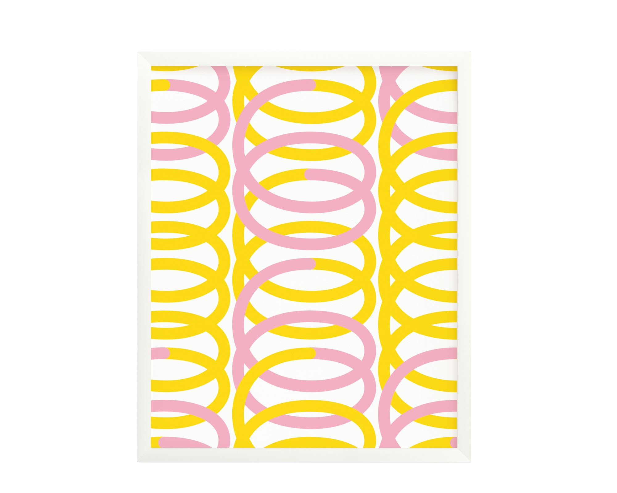 """Spiro"" pink and yellow graphic geometric squiggle composition archival giclée art print. Made in USA by My Darlin' @mydarlin_bk"