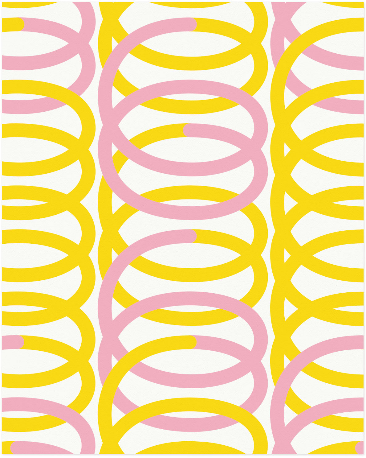 """Spiro"" pink and yellow graphic geometric spiral composition archival giclée art print. Made in USA by My Darlin' @mydarlin_bk"