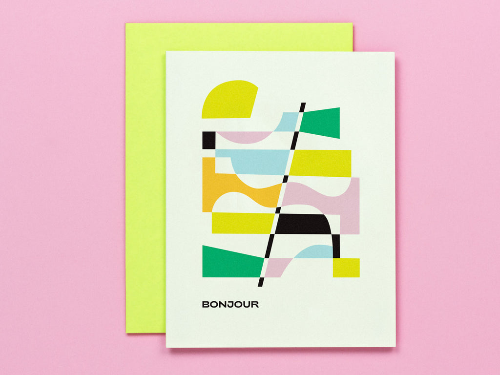 Bonjour Hello card with abstract vaguely art deco inspired design. Made in USA by My Darlin' @mydarlin_bk
