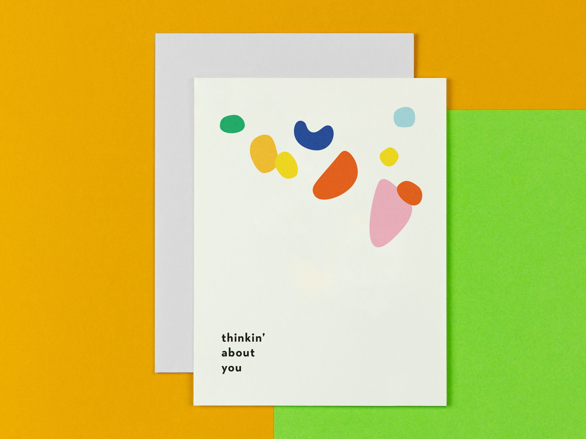 Thinkin' About You sympathy card with abstract shapes. Made in USA by My Darlin' @mydarlin_bk