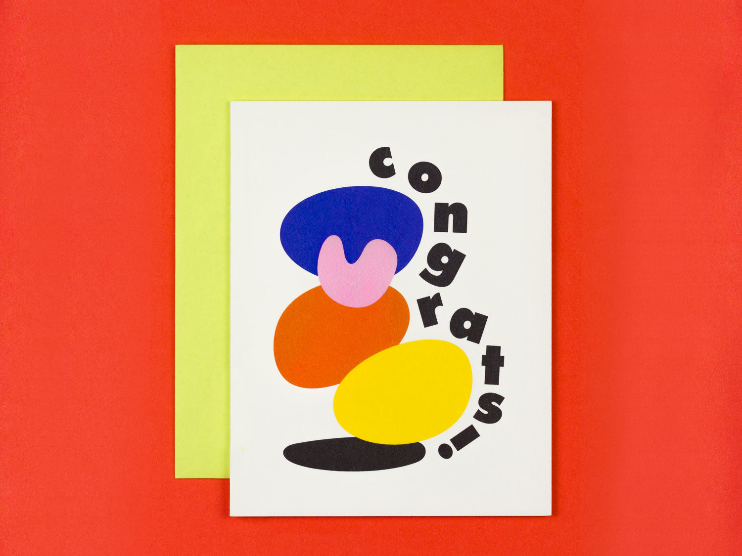Congrats card with colorful stacked abstract shapes by My Darlin' @mydarlin_bk