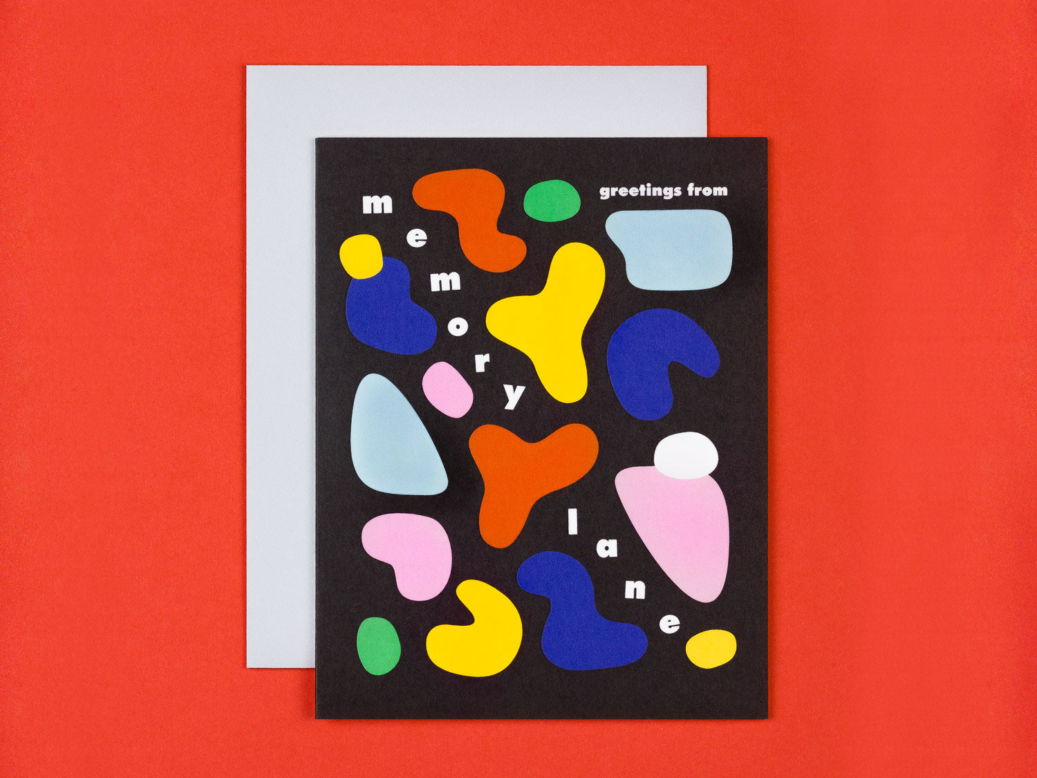 Thinking of you card with colorful abstract shapes by My Darlin' that reads Greetings From Memory Lane. @mydarlin_bk