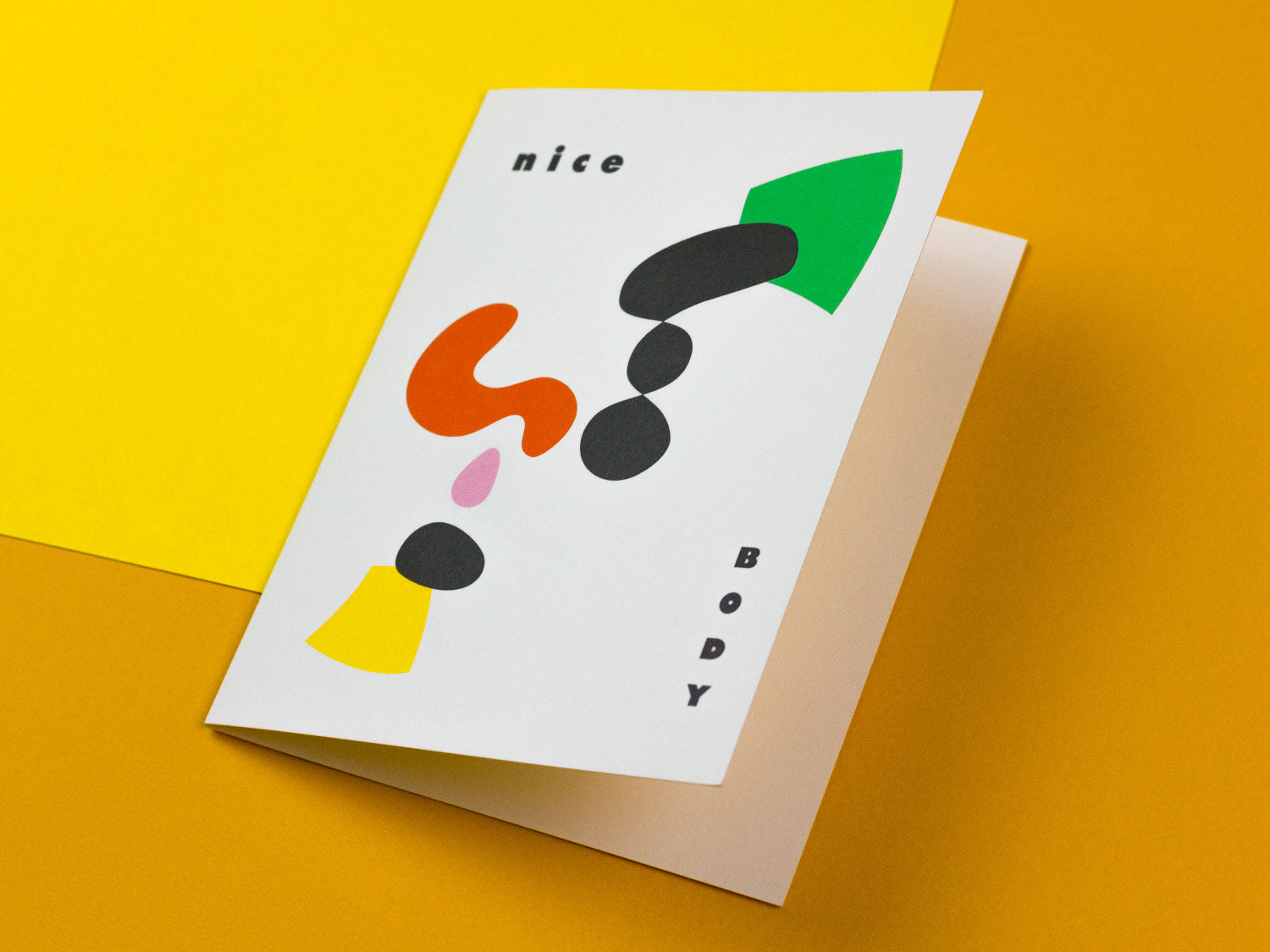 Nice Body Love card with colorful abstract shapes by My Darlin' @mydarlin_bk