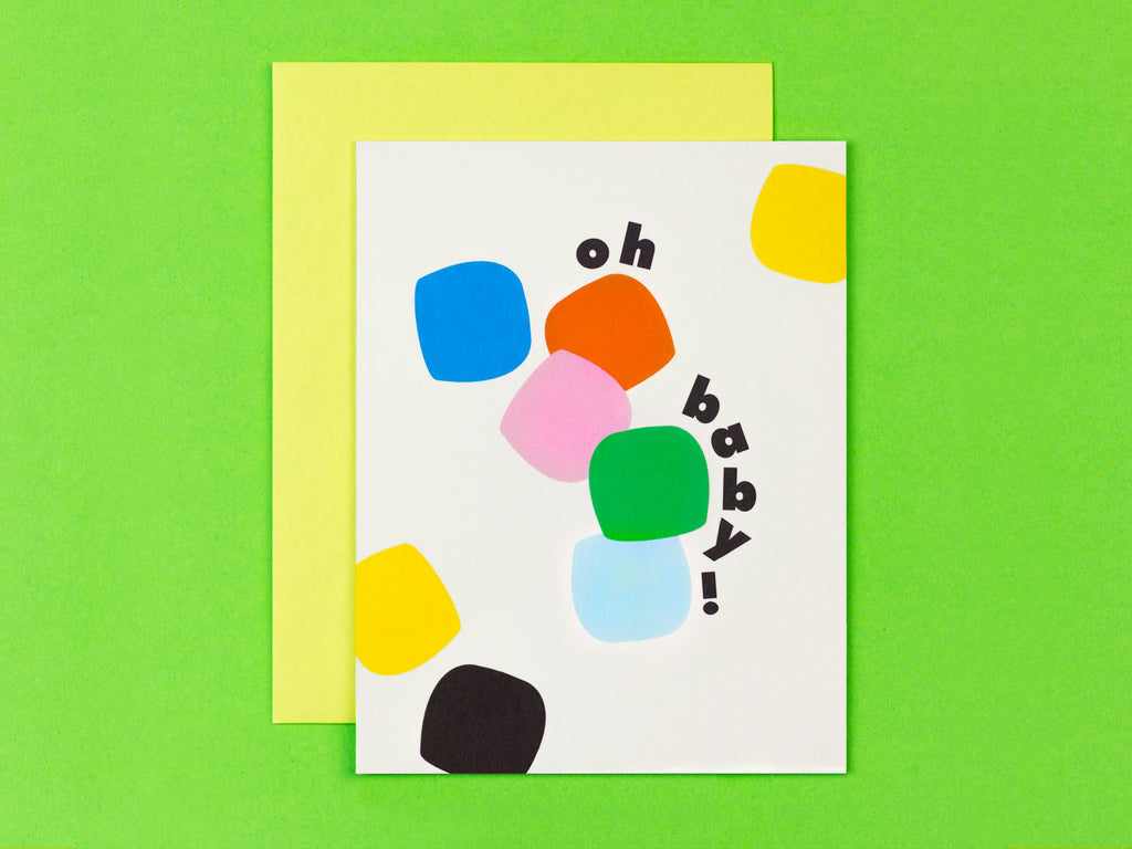 Oh Baby! New baby congrats card with colorful tumbling blocks by My Darlin' @mydarlin_bk
