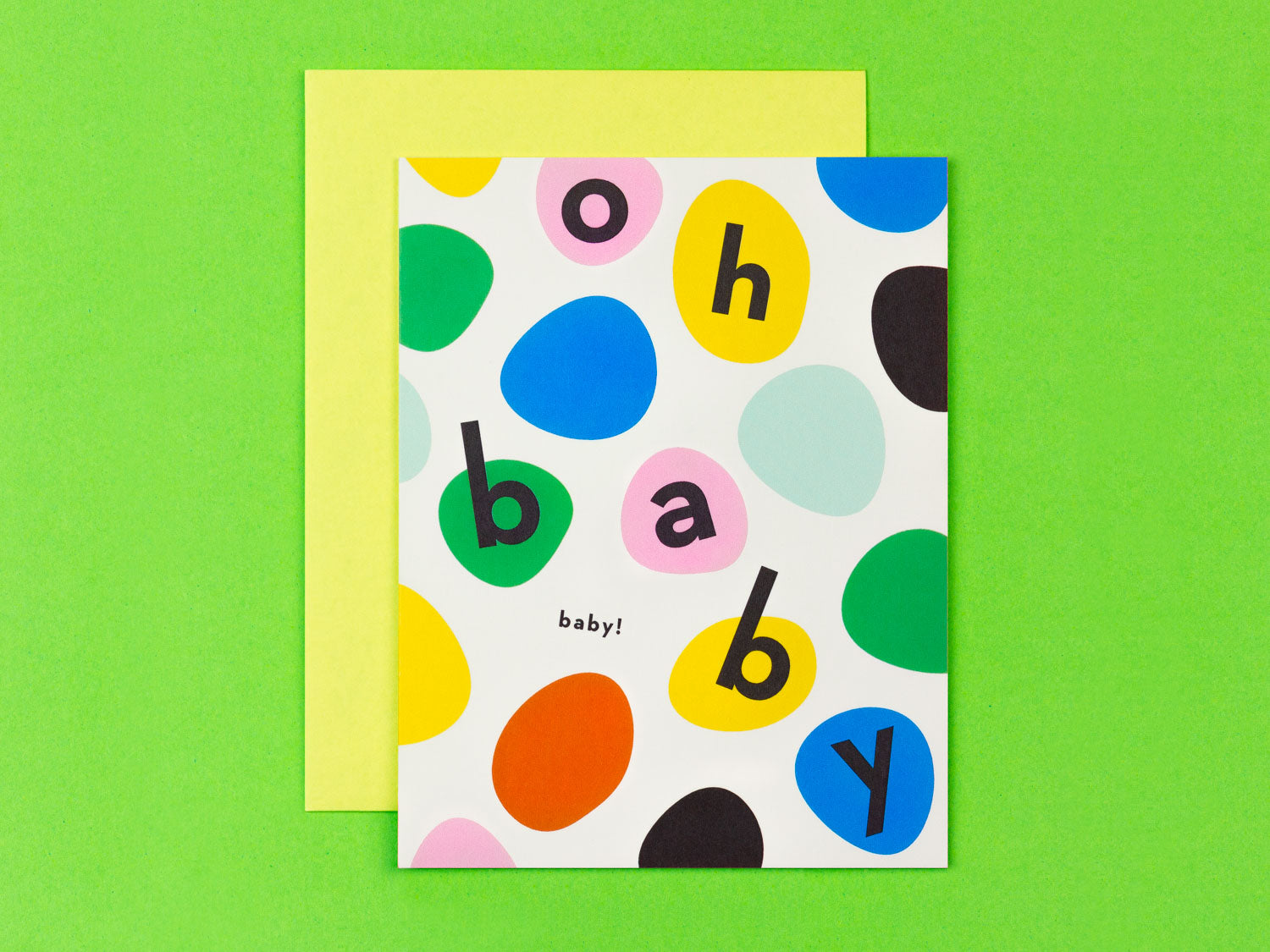 Oh Baby Baby! New baby congrats card with colorful bouncing dots by My Darlin' @mydarlin_bk