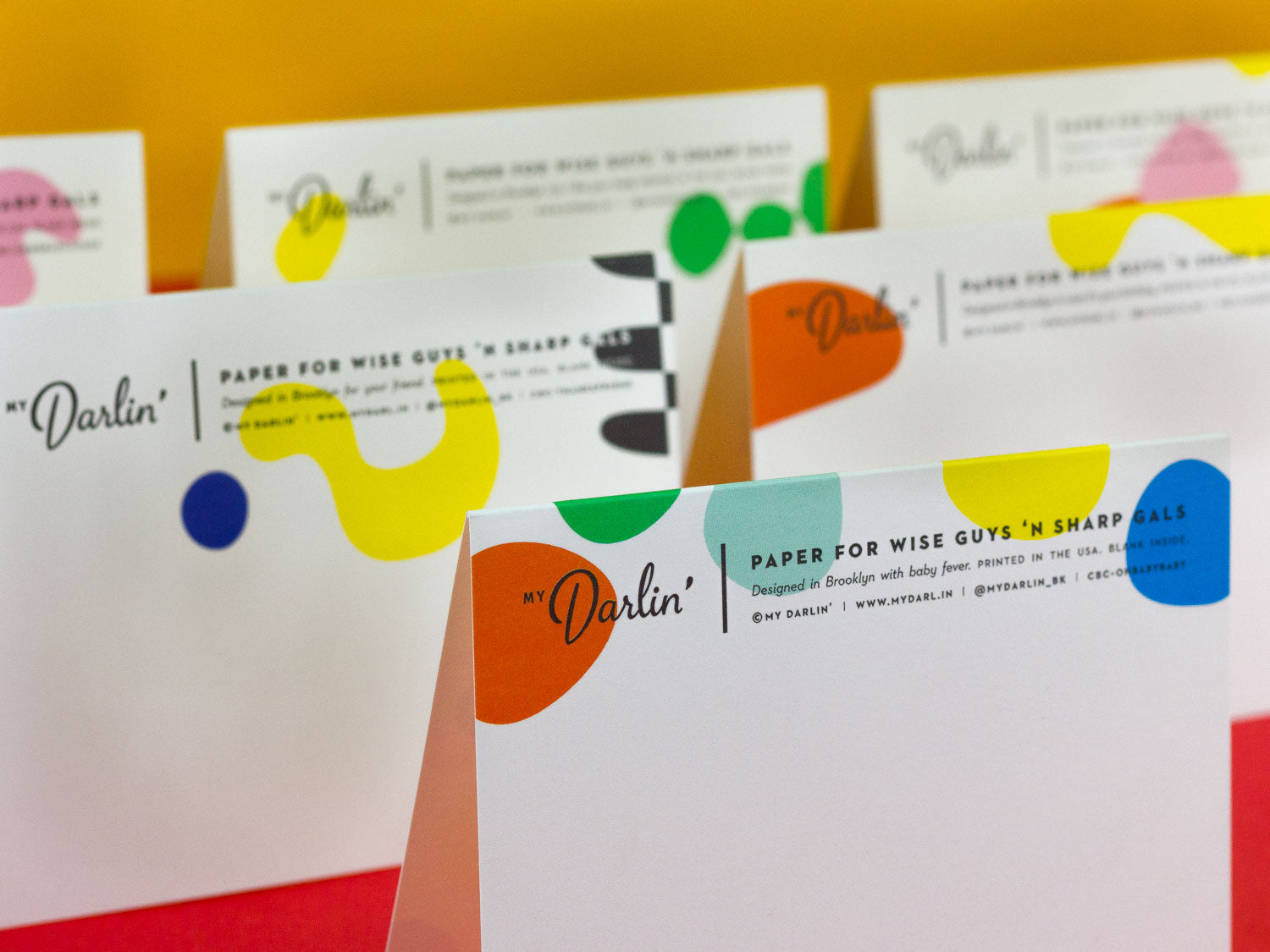Oh Baby Baby! New baby congrats card with colorful bouncing dots. Back of the card. By My Darlin' @mydarlin_bk