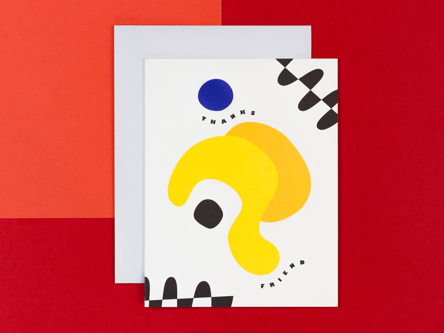 Thanks Friend Thank You Card with colorful abstract shapes by My Darlin' @mydarlin_bk