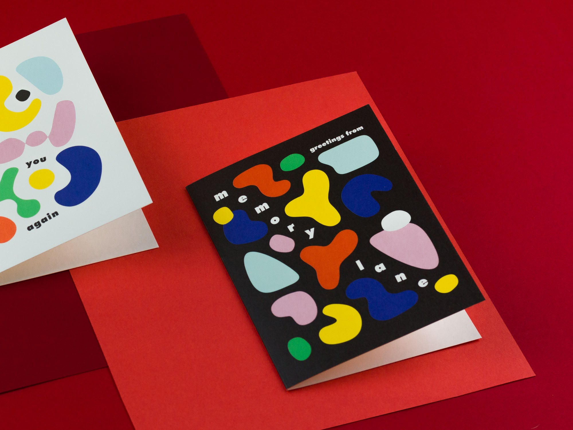 Greetings from Memory Lane thinking of you card with colorful abstract shapes by My Darlin' that reads Greetings From Memory Lane by @mydarlin_bk
