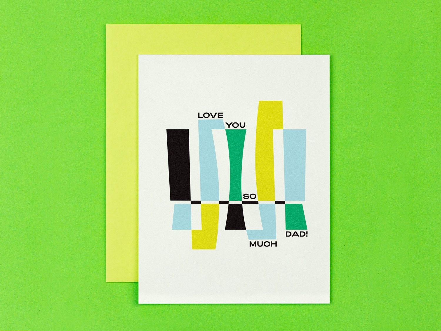 Love you so much dad! Father's Day card with abstract vaguely art deco inspired design. Made in USA by My Darlin' @mydarlin_bk