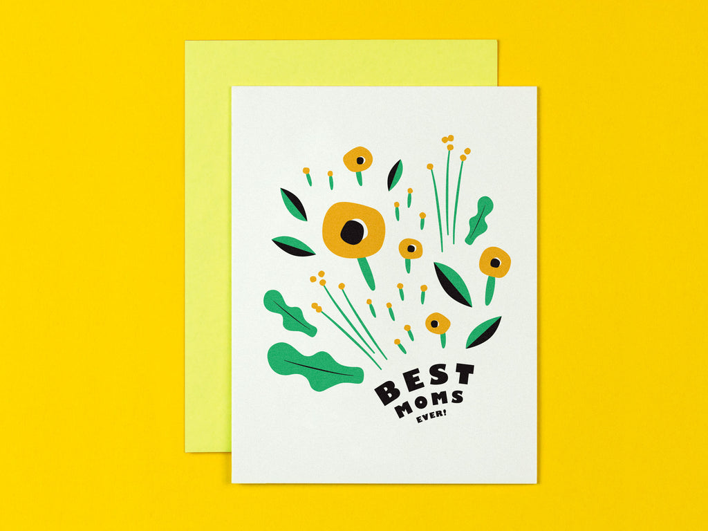 Best Moms Around two moms are better than one floral Mother's Day Card • Made in USA by My Darlin' @mydarlin_bk