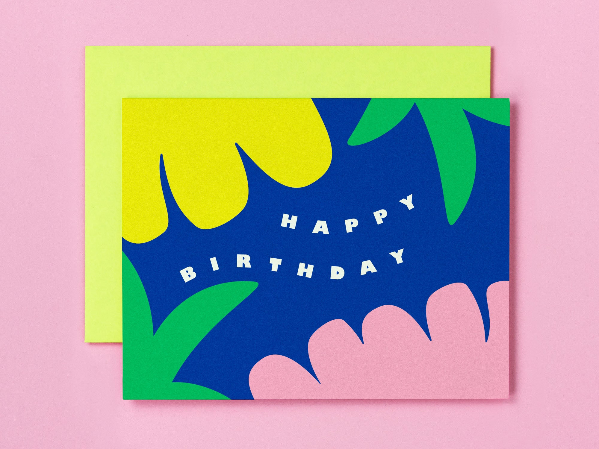 Tropical happy birthday card with abstract tropical floral illustration. Made in USA by My Darlin' @mydarlin_bk