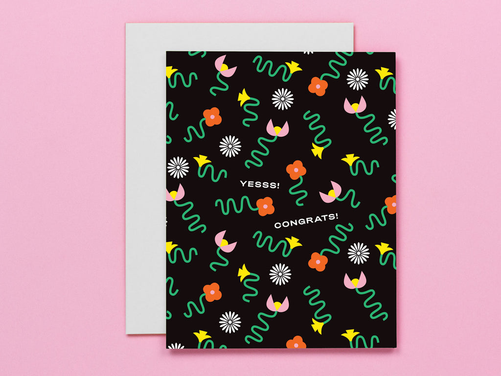 Yesss! Congrats! congratulations card with squiggle-infused florals. Made in USA by My Darlin' @mydarlin_bk