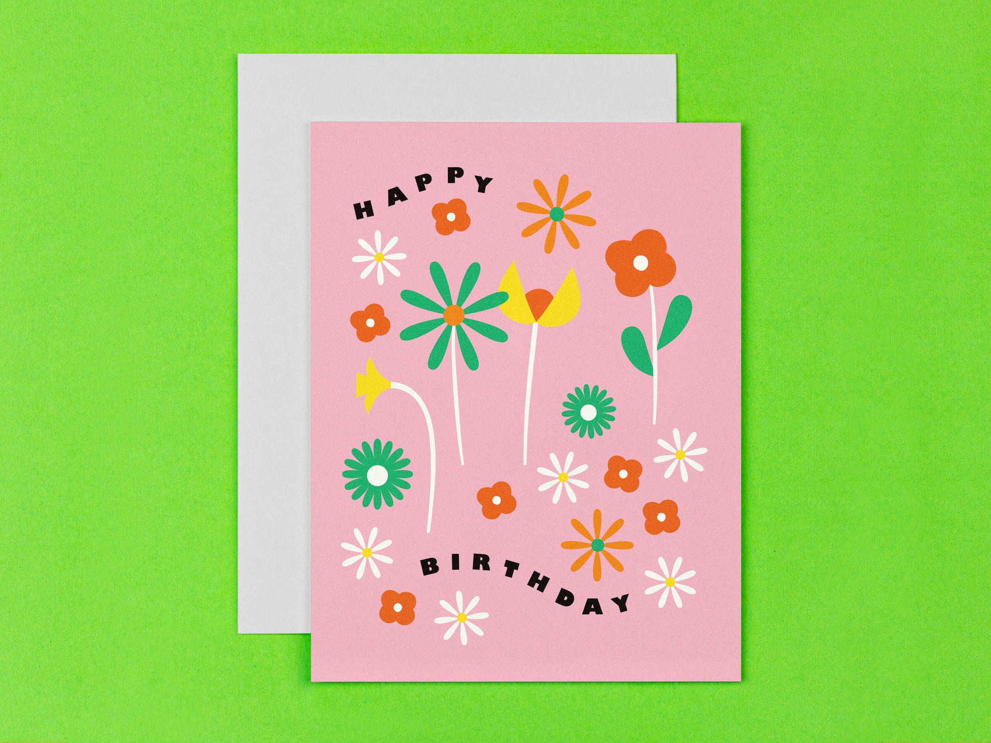 Floral happy birthday card with mid century style floral illustration. Made in USA by My Darlin' @mydarlin_bk