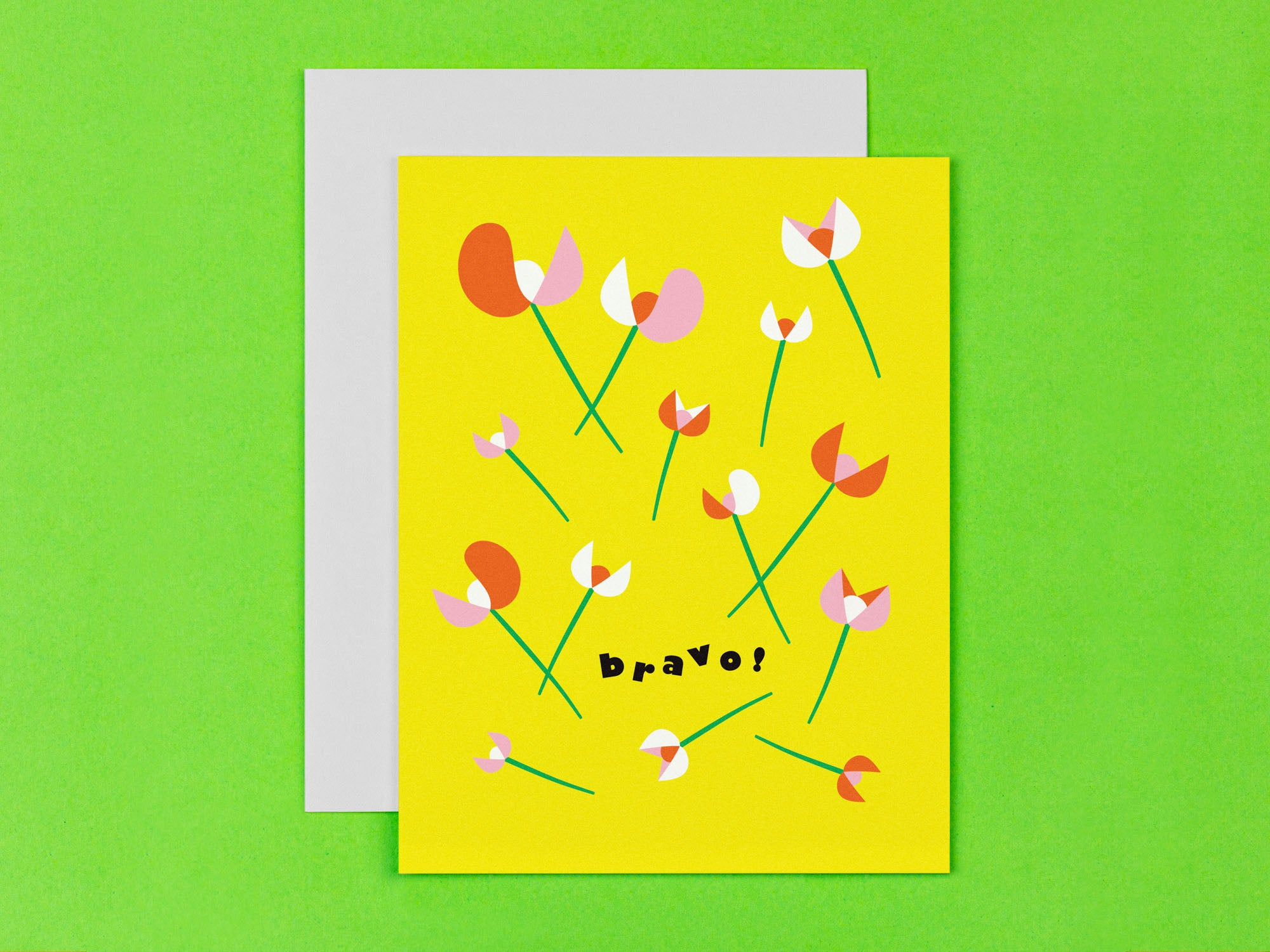 Bravo floral congratulations card with flowers strewn about. Made in USA by My Darlin' @mydarlin_bk