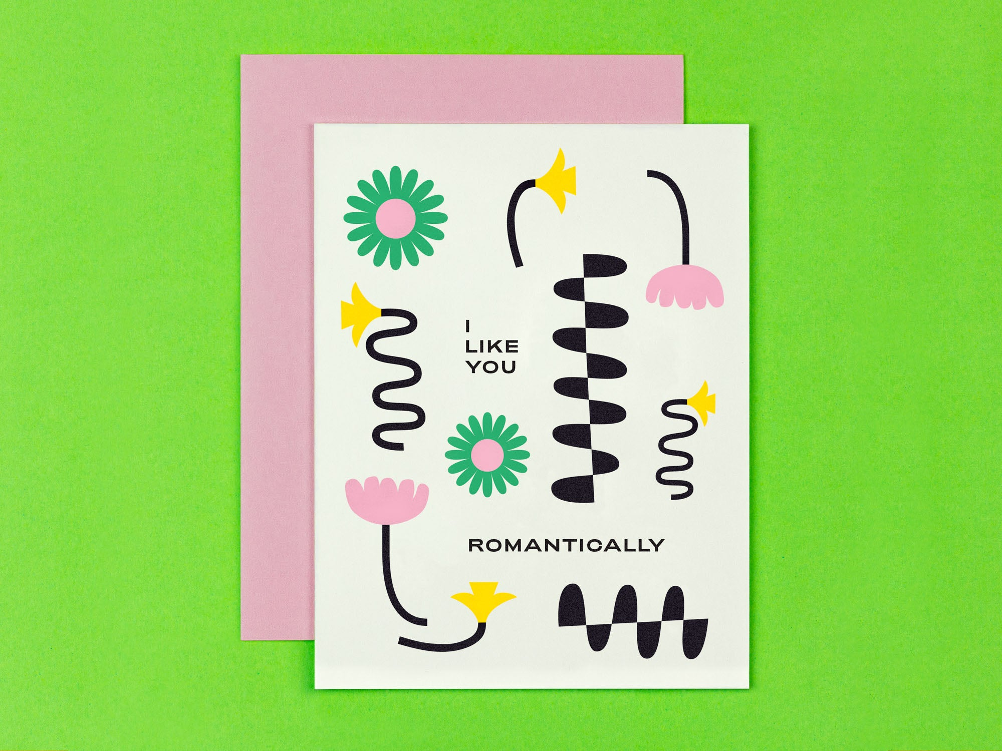 I Like You Romantically love card or anniversary card with squiggle-infused florals. Made in USA by My Darlin' @mydarlin_bk