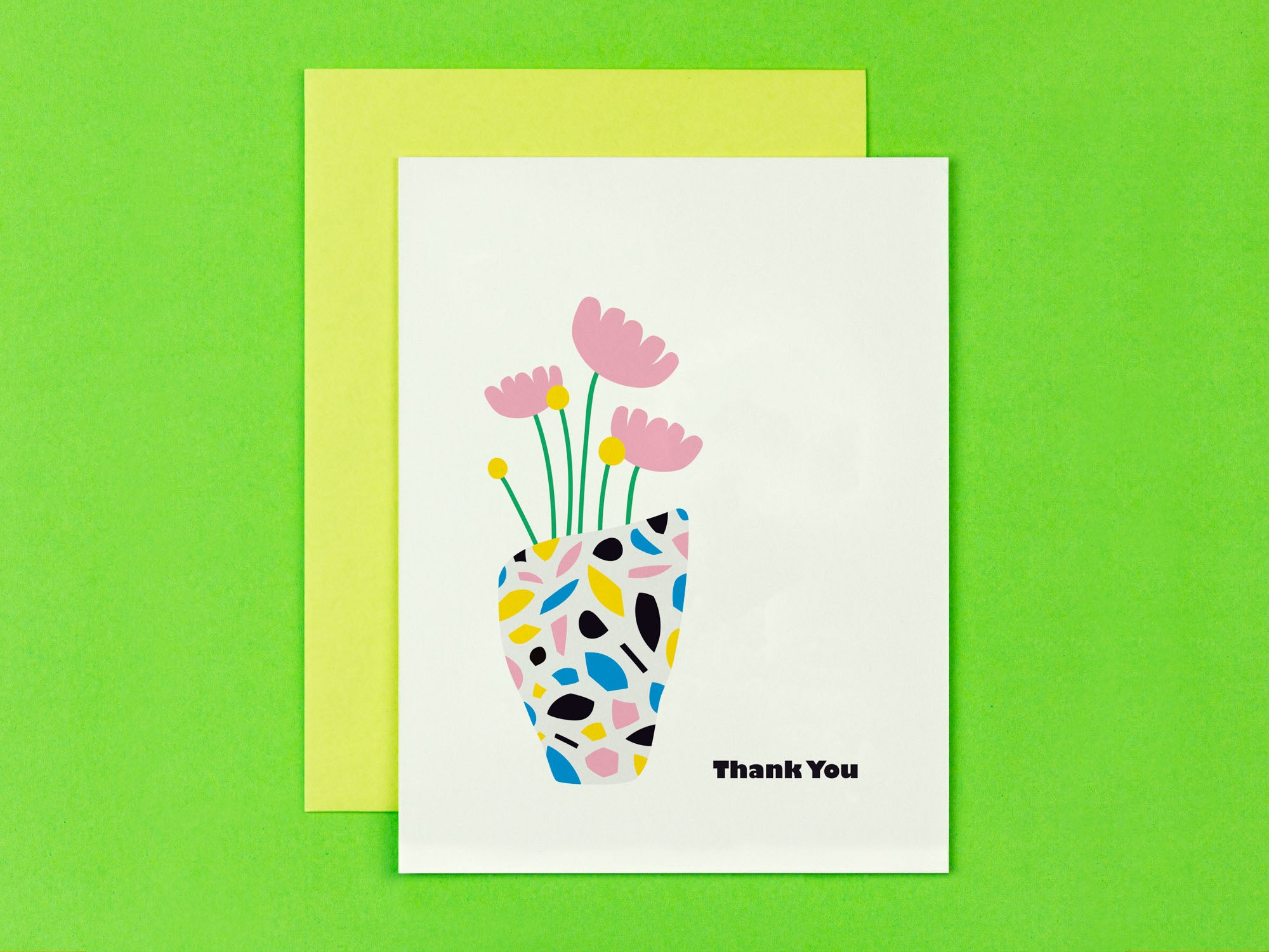 Thank you card with mid century style terrazzo flower vase illustration. Made in USA by My Darlin' @mydarlin_bk