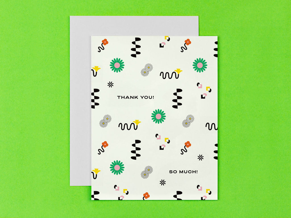 Thank You! So Much! thank you card with all-over squiggle-infused floral pattern. Made in USA by @mydarlin_bk