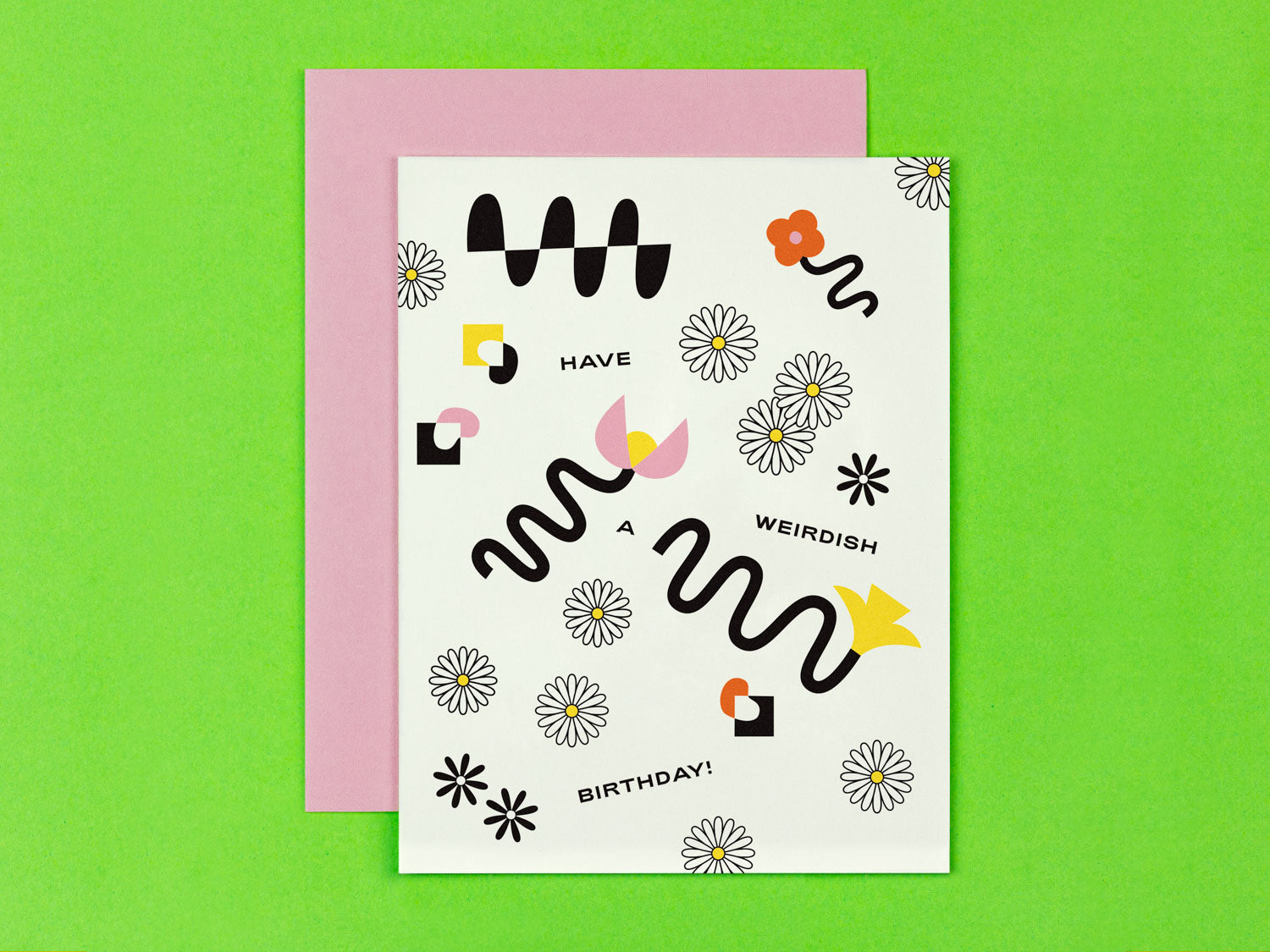 Have a weirdish birthday birthday card with squiggle-infused florals. Made in USA by My Darlin' @mydarlin_bk
