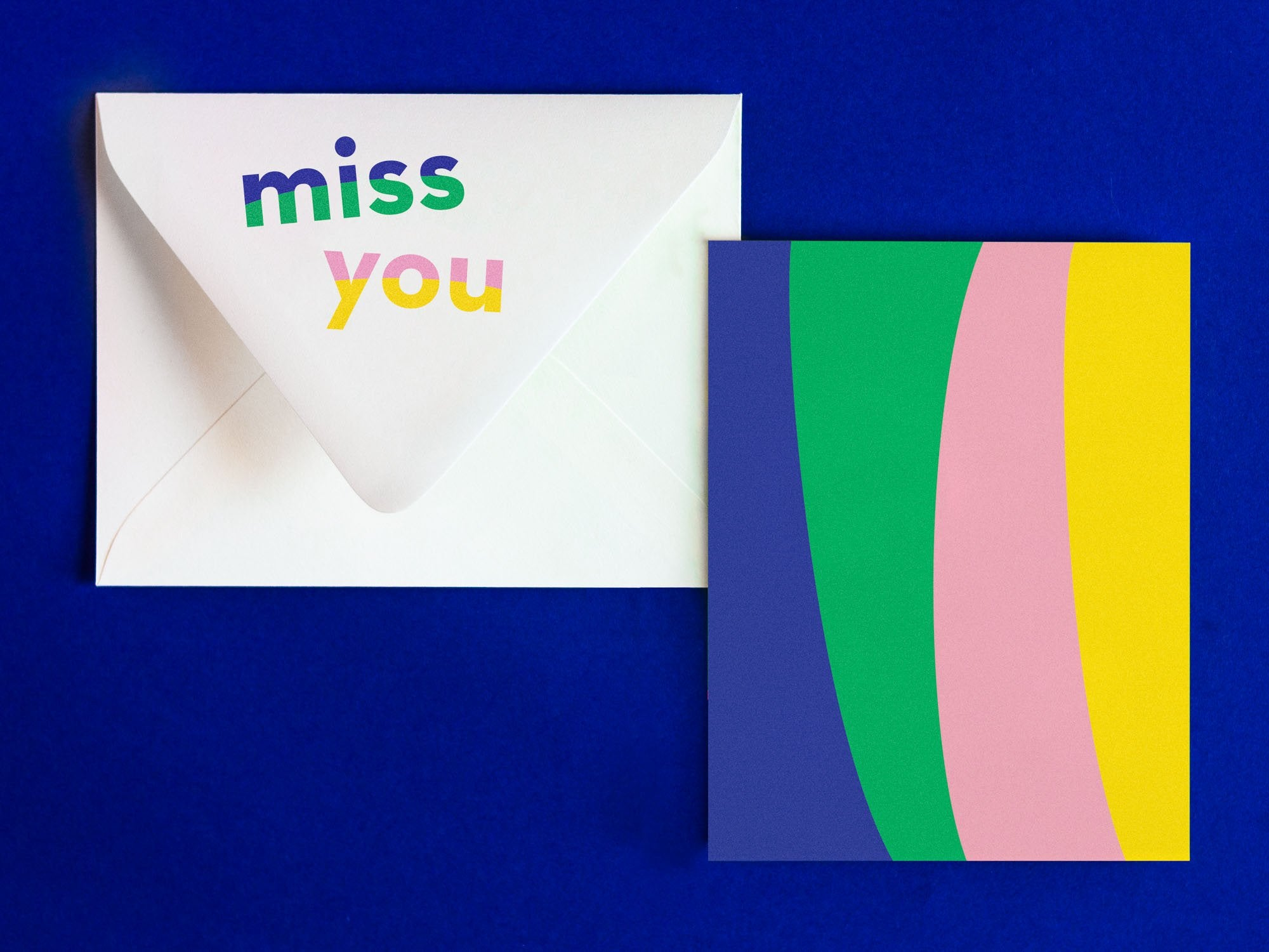 Miss You Notevelope, fun miss you card or thinking of you card. Blank pattern card with printed envelope • Notevelopes: The Note is on the Envelope by @mydarlin_bk