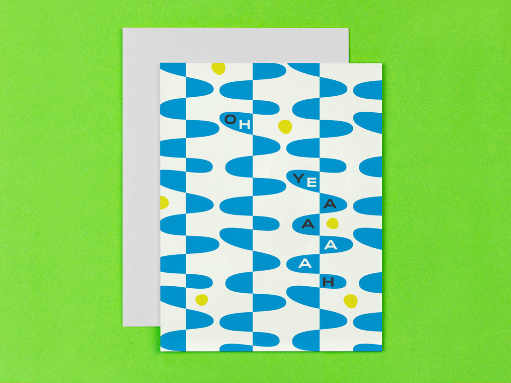 """Oh Yeaaaah"" congrats card with abstract squiggle design by My Darlin' @mydarlin_bk"
