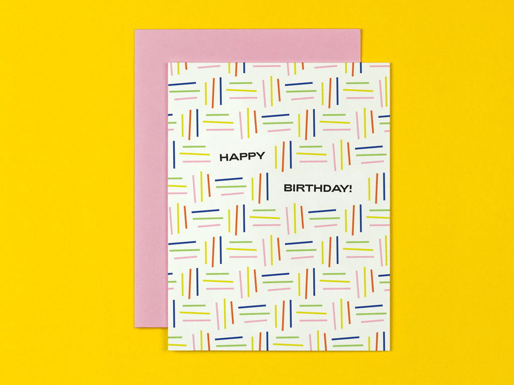 Happy Birthday card with colorful abstract line pattern. Made in USA by My Darlin' @mydarlin_bk