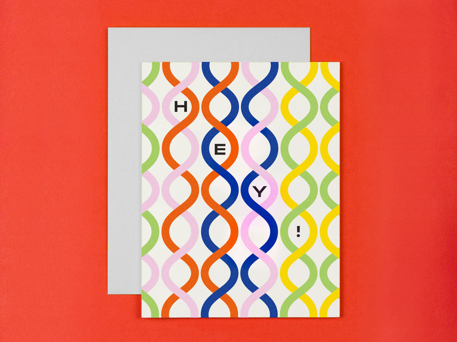 Hey Hello card with colorful graphic spiral pattern. Made in USA by My Darlin' @mydarlin_bk
