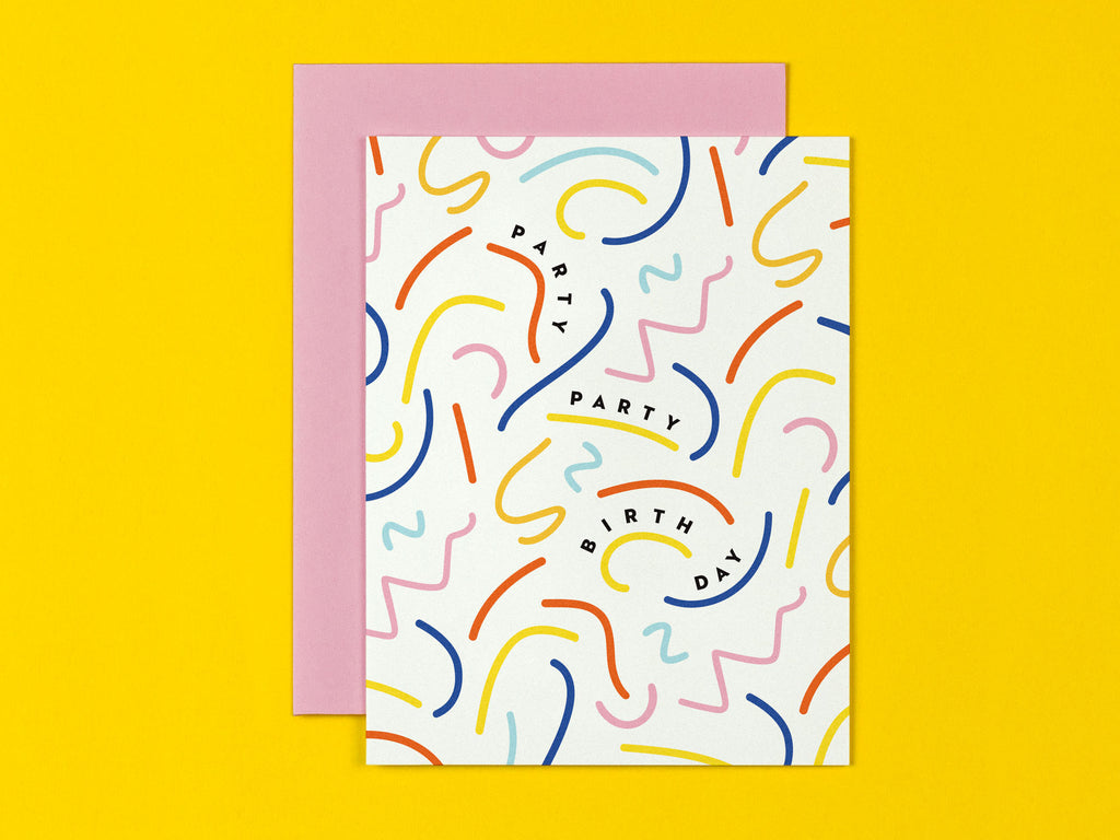 Squiggle Party Birthday Card by My Darlin' that reads Party Party Birth Day • @mydarlin_bk