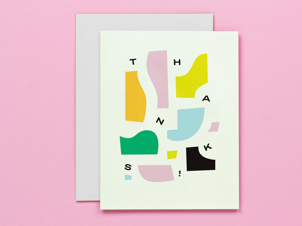 Thank you card featuring a composition of abstract pieces and shapes and falling typography. Made in USA by My Darlin' @mydarlin_bk