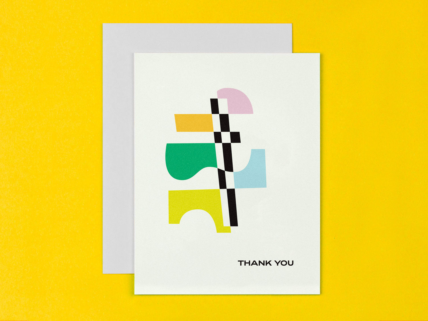 Abstract Thank You card with vaguely art deco inspired design. Made in USA by My Darlin' @mydarlin_bk