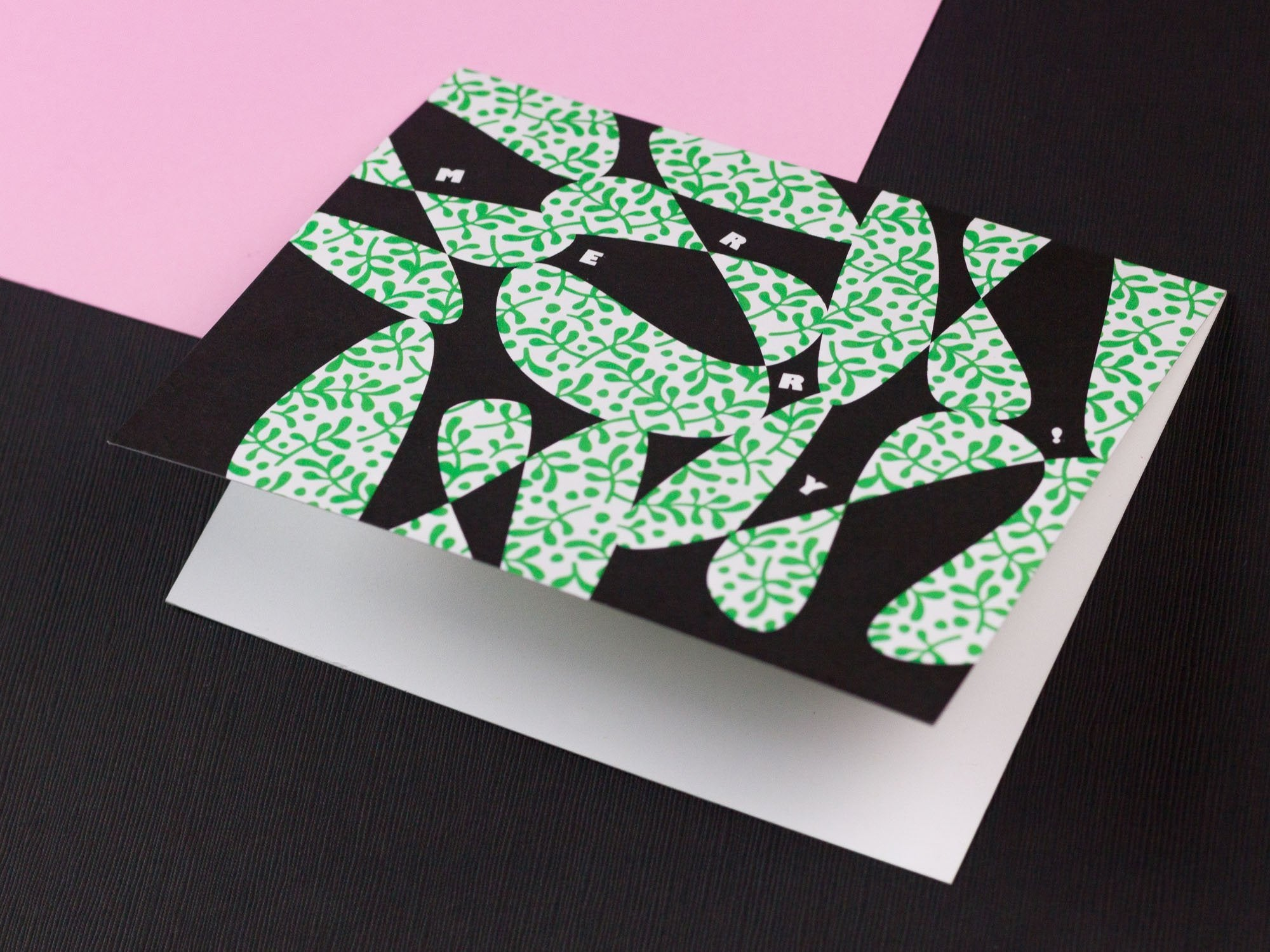 Merry abstract vines pattern mistletoe Christmas holiday card. Designed by @mydarlin_bk